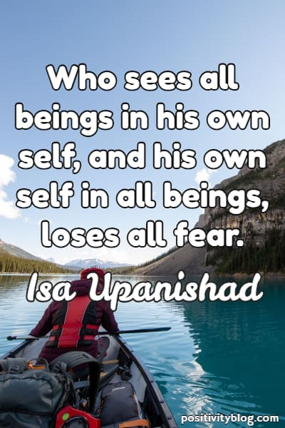 Fear Quote from Isa Upanishad, Hindu Scripture